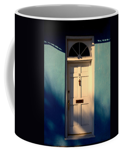 Blue Coffee Mug featuring the photograph Blue House Door by Susanne Van Hulst