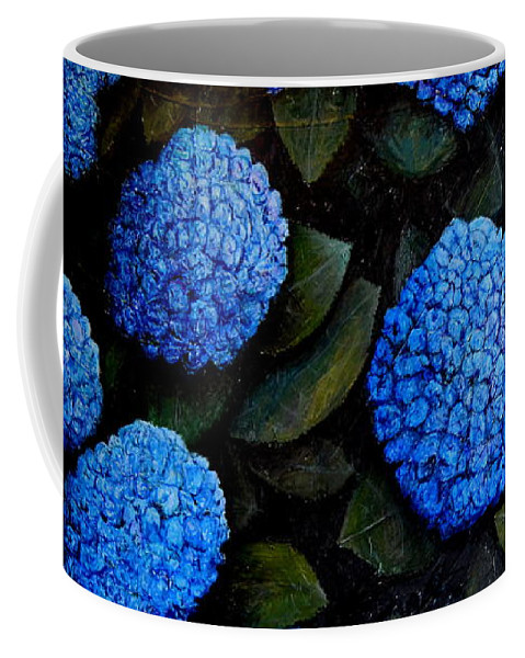 Hydrangeas Coffee Mug featuring the painting Blue Hydrangeas by Riccardo Maffioli