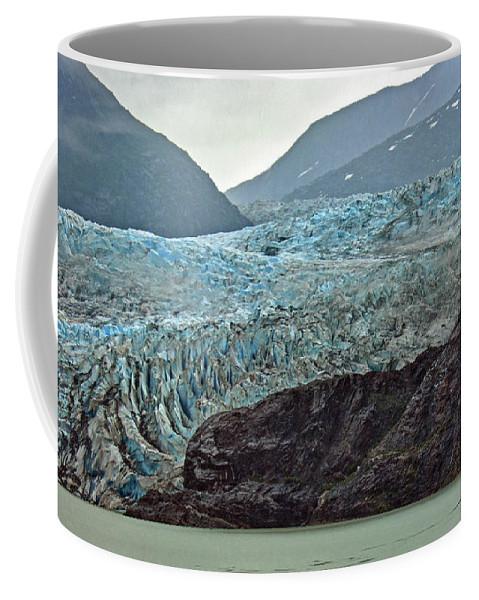 Mendenhall Glacier Coffee Mug featuring the photograph Blue Ice In Fog by Maria Keady