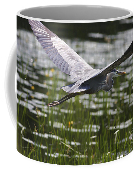 Heron Coffee Mug featuring the photograph Blue In Low Glide by Deborah Benoit