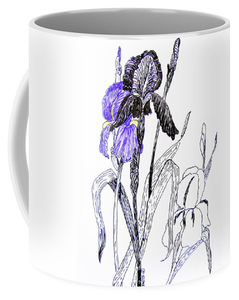 Iris Coffee Mug featuring the drawing Blue Iris by Marilyn Smith