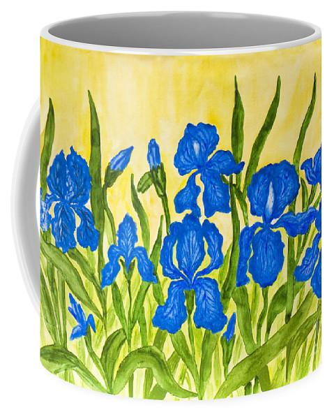 Art Coffee Mug featuring the painting Blue Irises by Irina Afonskaya