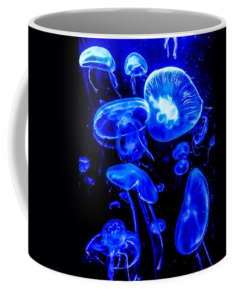 Sea Life Coffee Mug featuring the photograph Blue Jellies by Mark Sellers