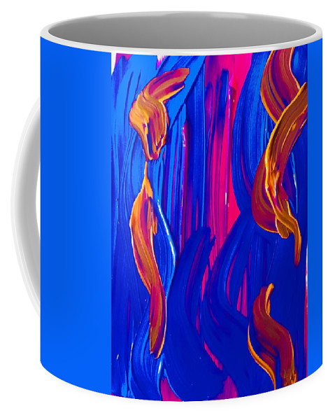 Abstract Acrylic Textured Art Design Coffee Mug featuring the painting Blue by Jill Mills