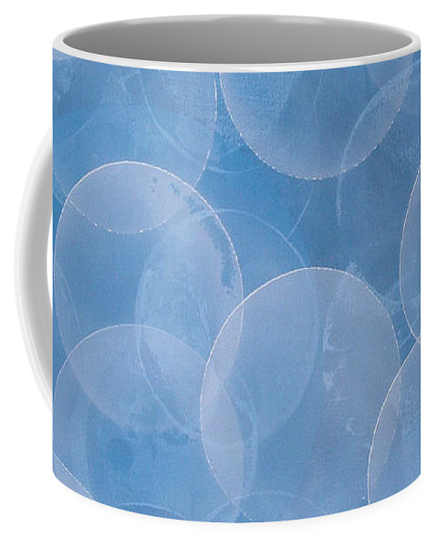 Abstract Coffee Mug featuring the painting Blue by Jitka Anlaufova