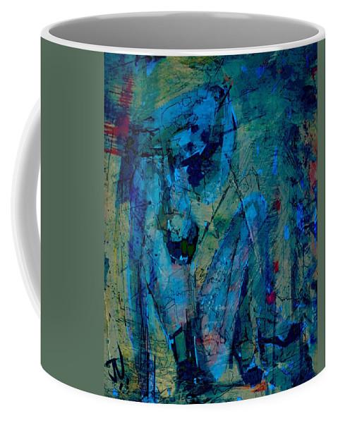 Abstract Coffee Mug featuring the digital art Blue Light by Jim Vance