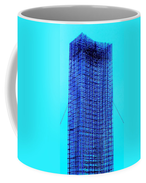 Metal Coffee Mug featuring the painting Blue Metal Mesh by Eric Schiabor