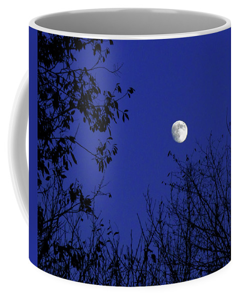 Blue Coffee Mug featuring the photograph Blue Moon Among The Tree Tops by Andee Design