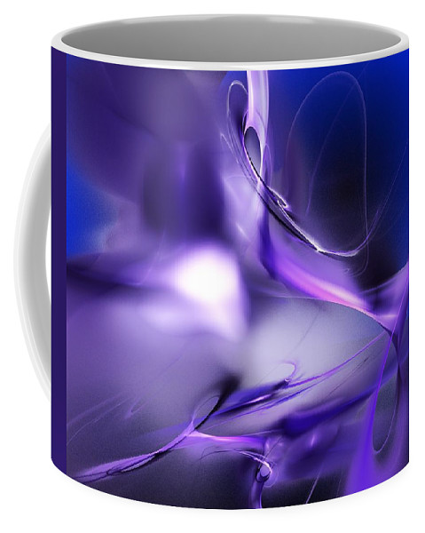Abstract Coffee Mug featuring the digital art Blue Moon And Wine Spirits by David Lane