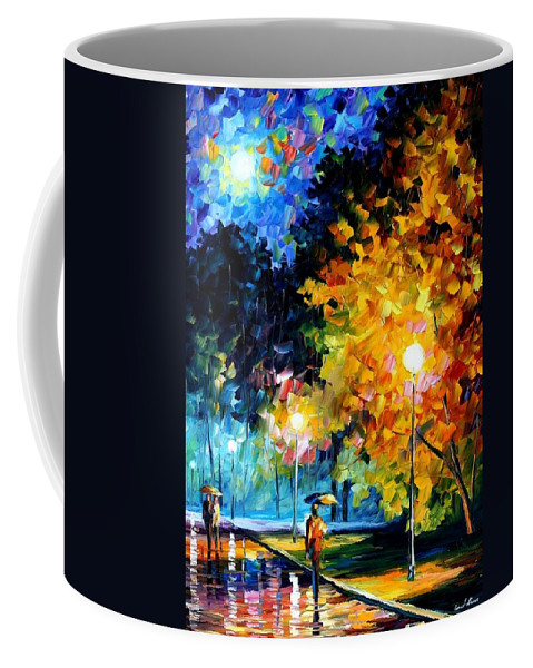 Afremov Coffee Mug featuring the painting Blue Moon by Leonid Afremov