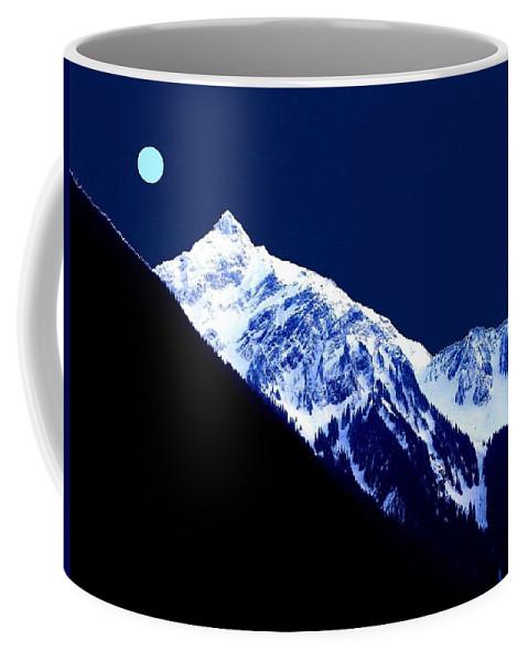 Photo-design Coffee Mug featuring the digital art Blue Moon by Will Borden