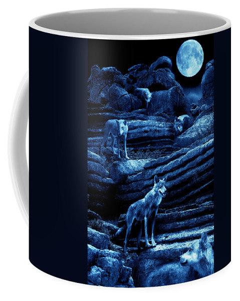 Wolf Coffee Mug featuring the photograph Blue Moon Wolf Pack by Mal Bray