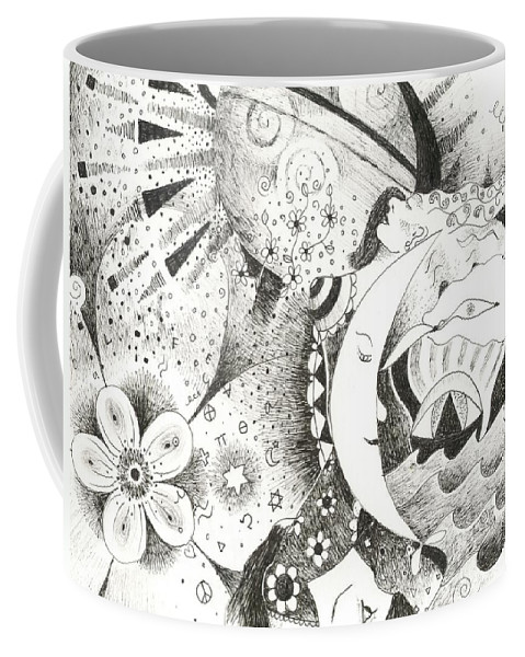 Surreal Coffee Mug featuring the drawing Blue Moons And Tidbits by Helena Tiainen