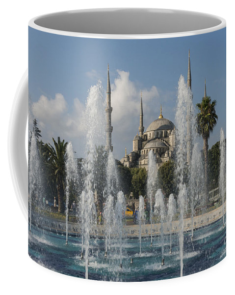 Sultanahmet Coffee Mug featuring the photograph Blue Mosque Through The Fountain by Bob Phillips