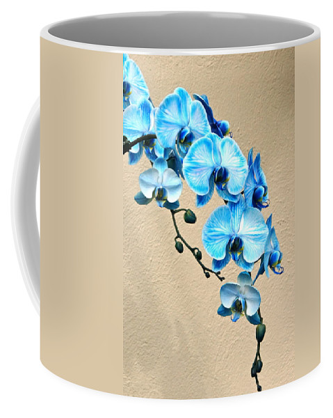 Orchid Coffee Mug featuring the photograph Blue Mystique Orchid by Byron Varvarigos