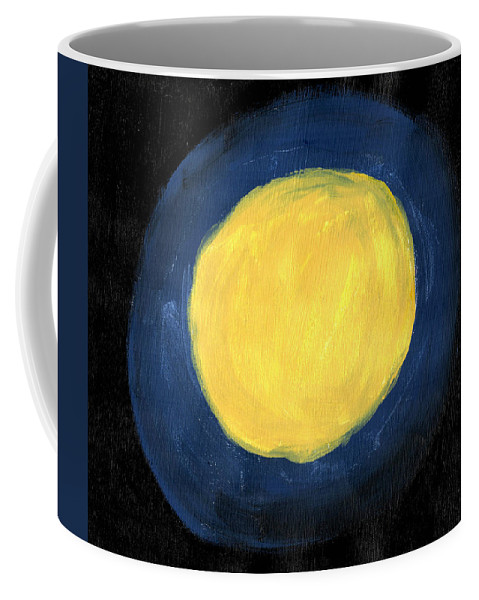 Art & Collectibles Coffee Mug featuring the painting Blue Night Sun by Sindy Original