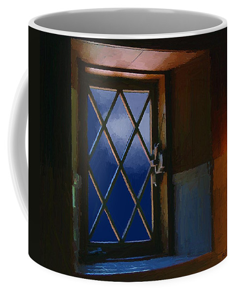 Window Coffee Mug featuring the painting Blue Night Through Casement by RC DeWinter