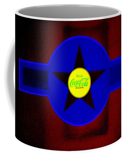 Label Coffee Mug featuring the painting Blue On Red by Charles Stuart