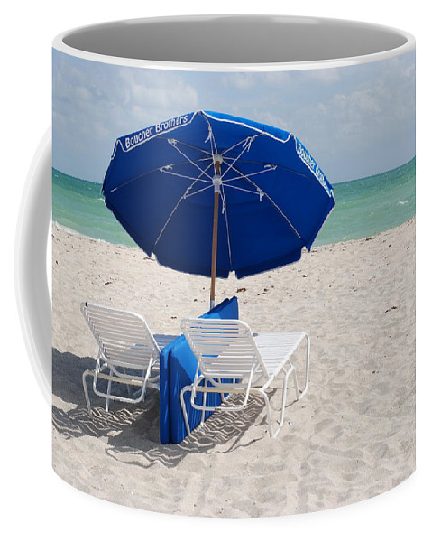 Sea Scape Coffee Mug featuring the photograph Blue Paradise Umbrella by Rob Hans