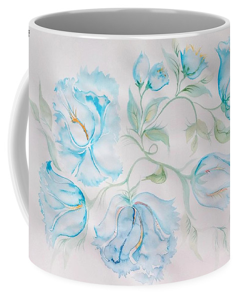 Peonies Coffee Mug featuring the digital art Blue Peonies by Sandrine Kespi