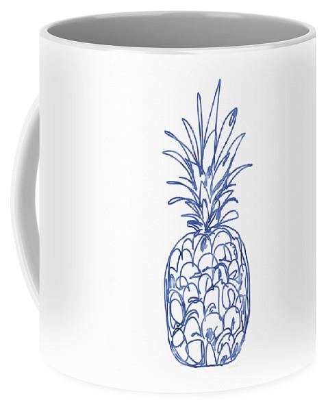 Pineapple Coffee Mug featuring the painting Blue Pineapple- Art By Linda Woods by Linda Woods