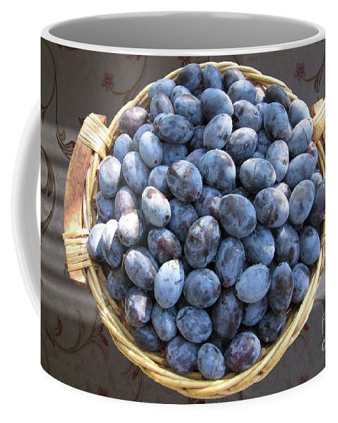 Plum Coffee Mug featuring the photograph Blue Plums by Mira Ostojic
