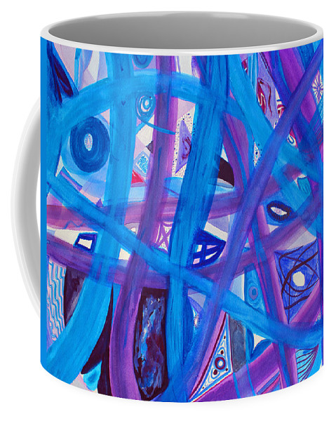Abstract Coffee Mug featuring the painting Blue Purple Paths by Lee Serenethos
