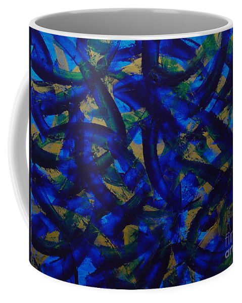 Abstract Coffee Mug featuring the painting Blue Pyramid by Dean Triolo