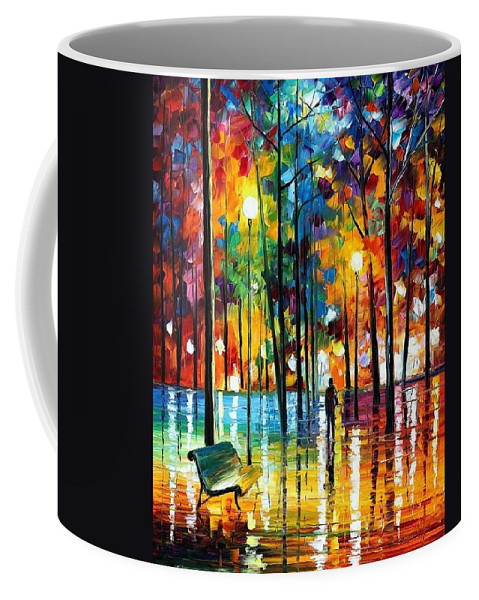 Afremov Coffee Mug featuring the painting Blue Refelctions by Leonid Afremov