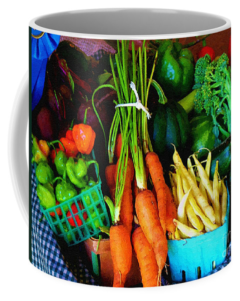 Basket Coffee Mug featuring the painting Blue Ribbon Harvest by RC DeWinter