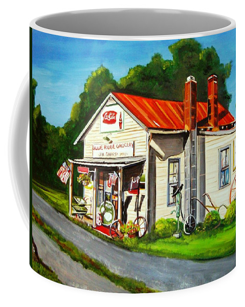 Landscape Coffee Mug featuring the painting Blue Ridge Grocery by Marsha Hale