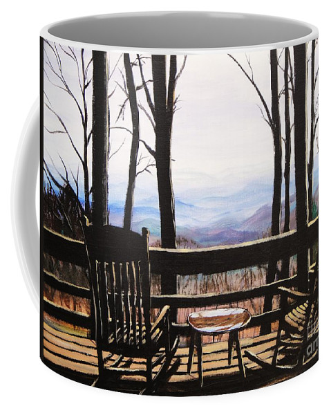 North Carolina Coffee Mug featuring the painting Blue Ridge Mountain Porch View by Patricia L Davidson