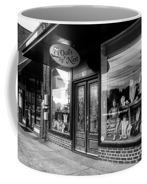 Owl's Nest Coffee Mug featuring the photograph Blue Ridge Owl's Nest In Black And White by Greg Mimbs