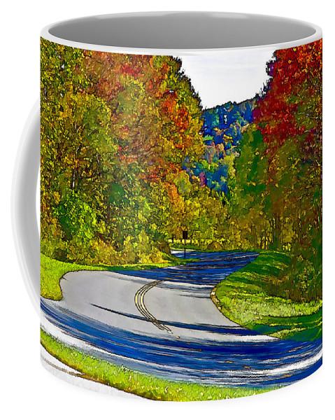Landscape Coffee Mug featuring the digital art Blue Ridge Parkway Interpretation by Ches Black
