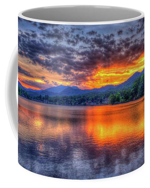 Reid Callaway Lake Junaluska Coffee Mug featuring the photograph Blue Ridges Lake Junaluska Sunset Great Smoky Mountains Art by Reid Callaway