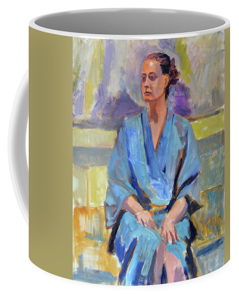 Figure Coffee Mug featuring the painting Blue Robe by Keith Burgess