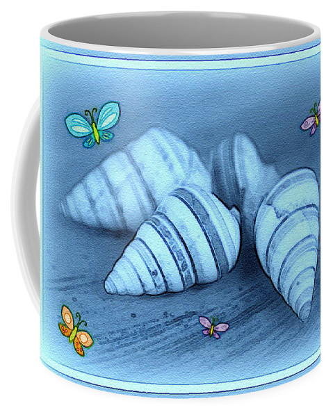 Shell Art Coffee Mug featuring the photograph Blue Seashells by Linda Sannuti