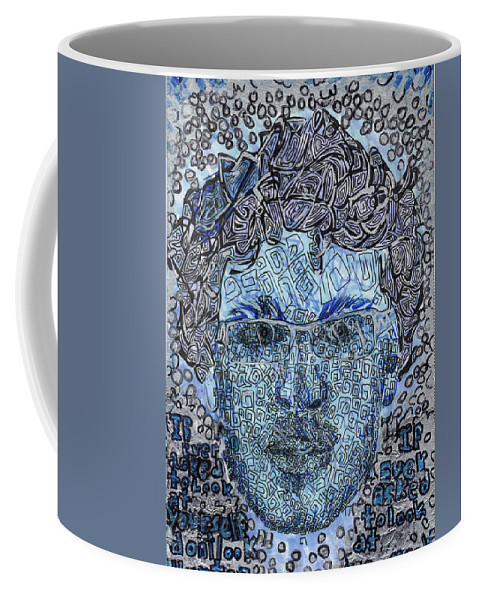 Jesse Apple Self Portrait Coffee Mug featuring the drawing Blue Self Portrait by Jesse Apple