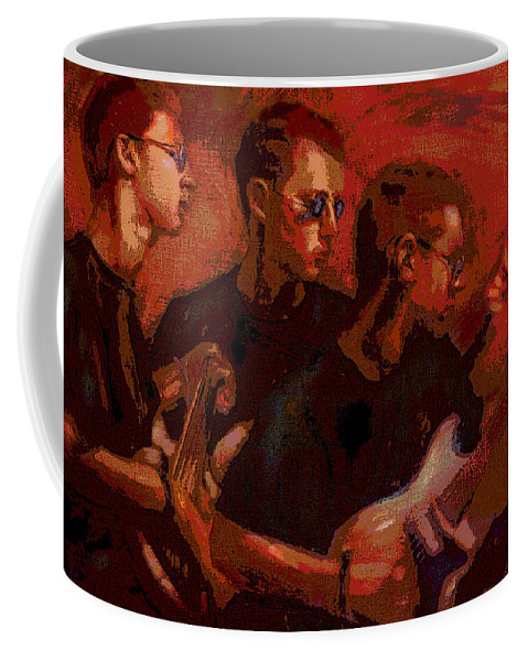 Portrait Coffee Mug featuring the painting Blue Shades by Jean Hildebrant