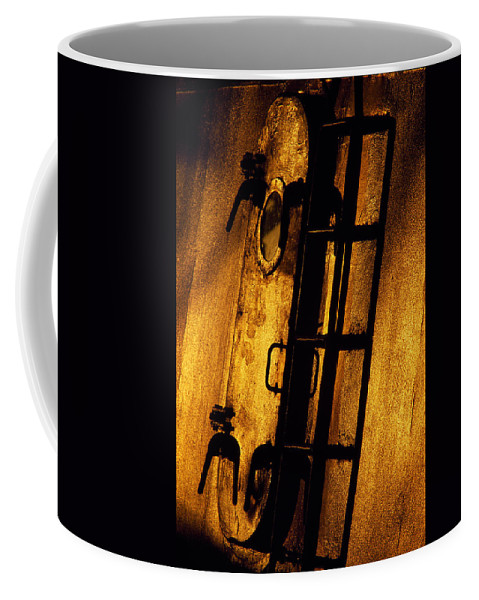 Blue Coffee Mug featuring the photograph Blue Ship Hatchway At Sunrise by Bob Neiman