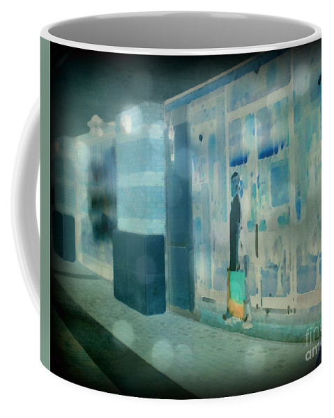 Post Processed Coffee Mug featuring the photograph Blue Shopper by Paulette B Wright
