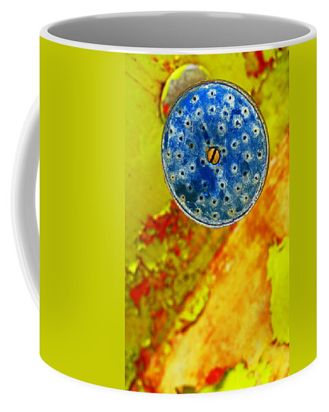 Shadow Coffee Mug featuring the photograph Blue Shower Head by Skip Hunt