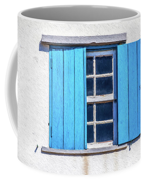 David Letts Coffee Mug featuring the painting Blue Shutters Of Peniche by David Letts