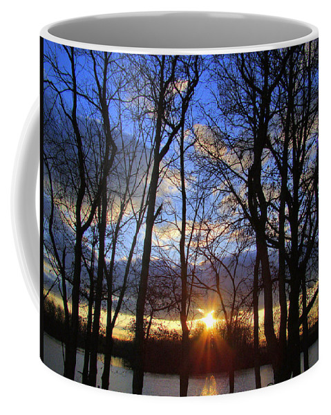 Sunset Coffee Mug featuring the photograph Blue Skies And Golden Sun by J R Seymour