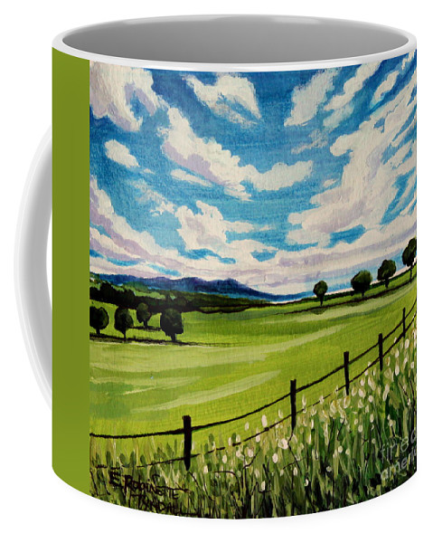 Landscape Coffee Mug featuring the painting Blue Skies by Elizabeth Robinette Tyndall