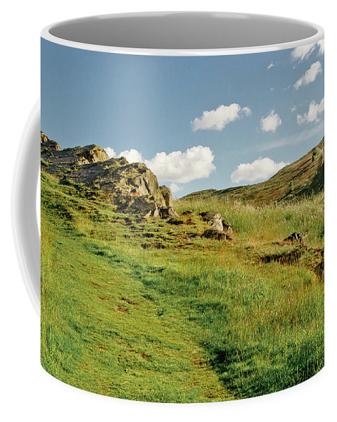 Edinburgh Coffee Mug featuring the photograph Blue Sky Of Holyrood Walk. by Elena Perelman