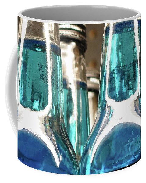 Abstract Coffee Mug featuring the photograph Blue Soda Abstract by Bonnie See