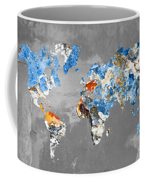 World Map Coffee Mug featuring the photograph Blue Street Art World Map by Delphimages Photo Creations