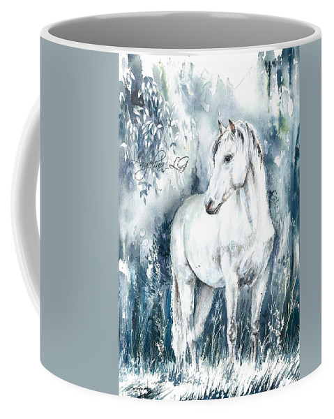 White Coffee Mug featuring the painting Blue Symphony by Angelina Ligomina