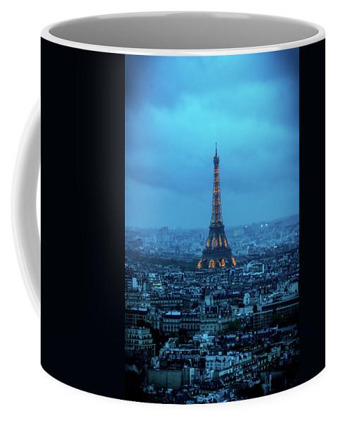 Eiffel Tower Coffee Mug featuring the photograph Blue Tower by Jon Jon
